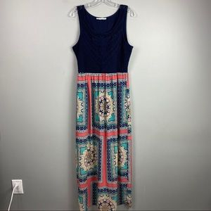 Maurices Tank Maxi Dress Floral Crochet Blue XL